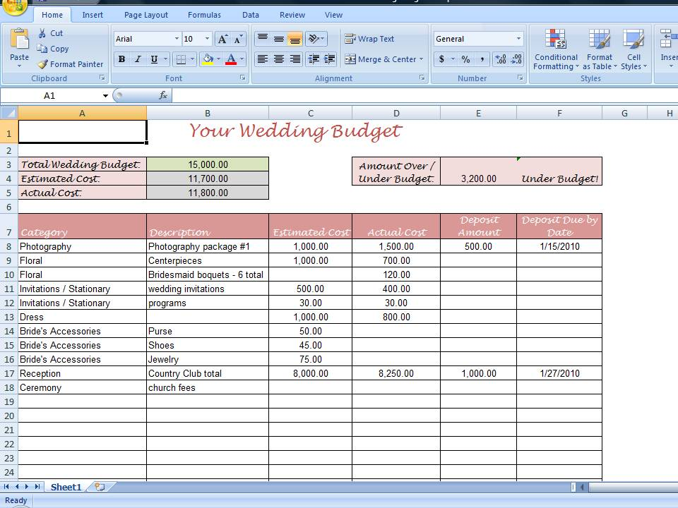 Excel | Printable Wedding Budget Template for your Wedding Planning ...