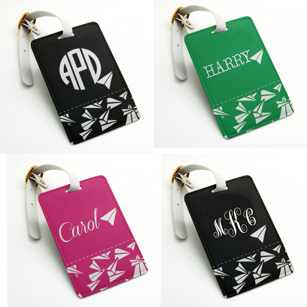 Airplane Plane Personalized Name Tag Luggage Tag Bag Tag