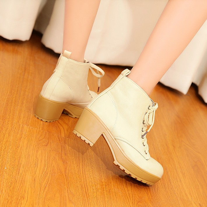 a86771cf6e6 Beige Artificial high heel Platform lace up ankle boots on Storenvy