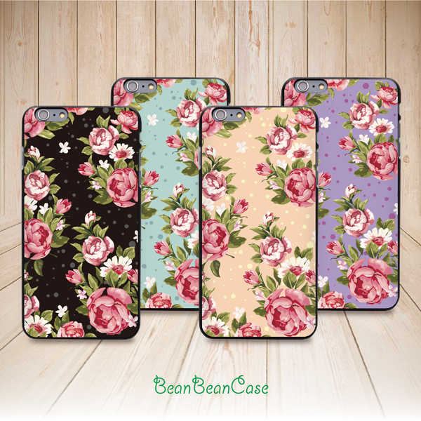 reputable site 0ac14 c2da5 for iPhone 6, iPhone 6 plus, vintage rose flower garden floral back cover  case (E06)
