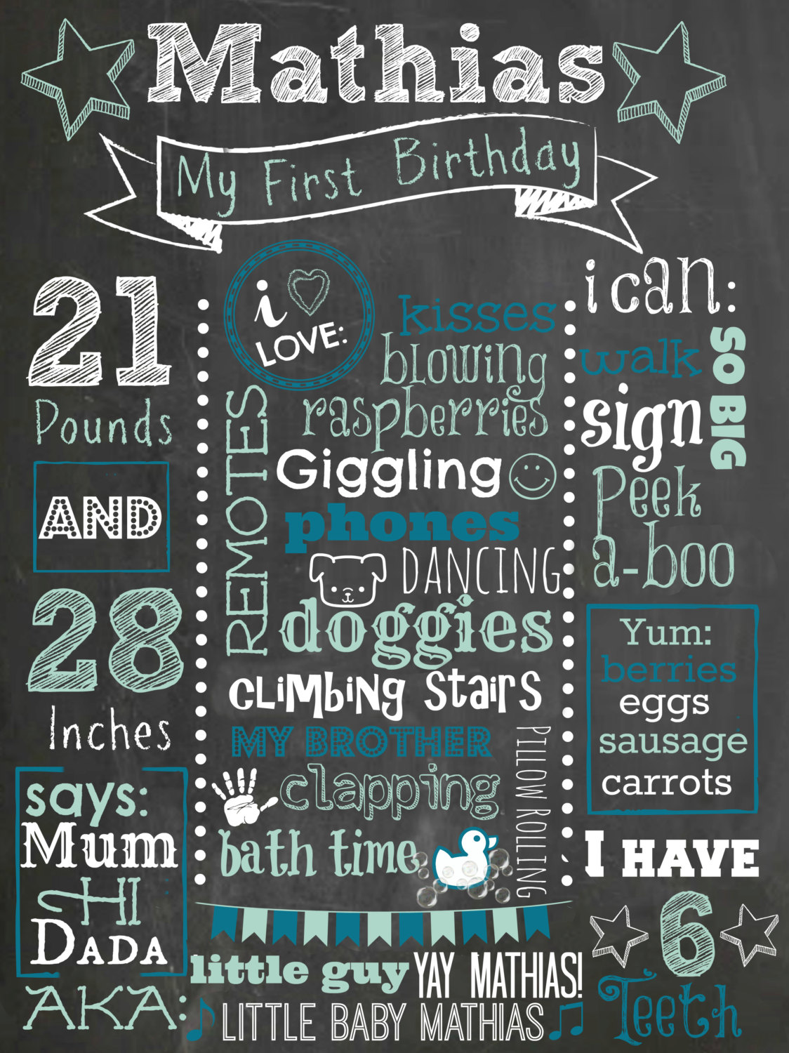 Minnie Mouse First Birthday Colored Chalkboard Poster ...