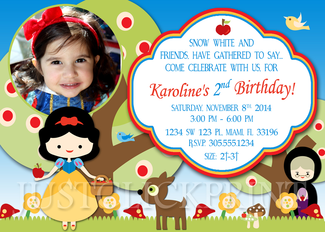 picture regarding Snow White Invitations Printable known as Snow White Princess Social gathering Birthday Invitation Printable against Simply just Simply click Print