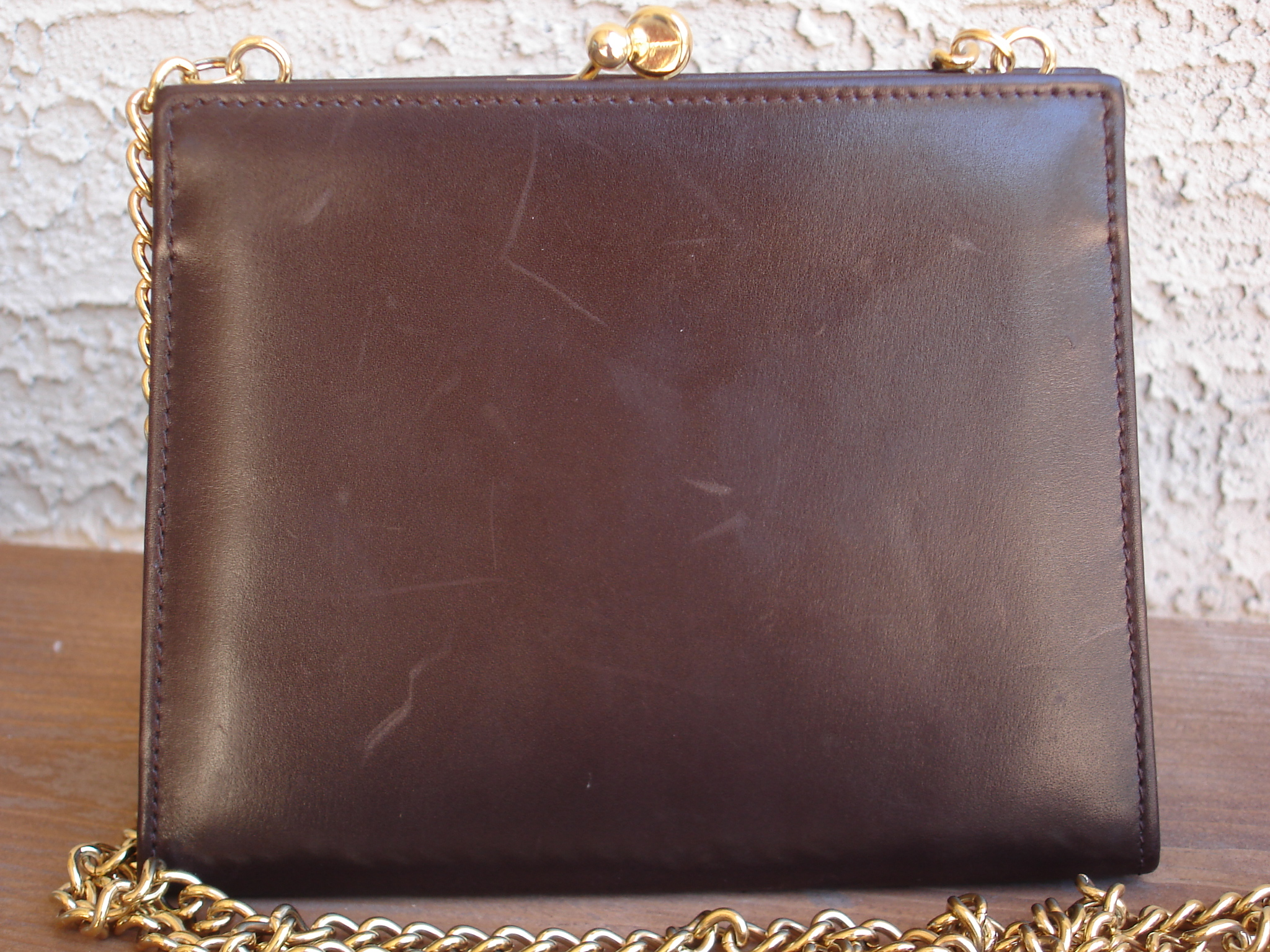 b6314881c ... Authentic Vintage Salvatore Ferragamo Vara Gold Chain Brown Leather  Mini Bag Pouch Purse - Thumbnail 4