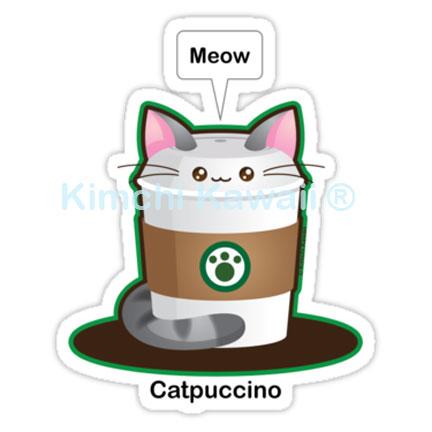 Cute Cat Coffee Pun Vinyl Sticker from Kimchi Kawaii