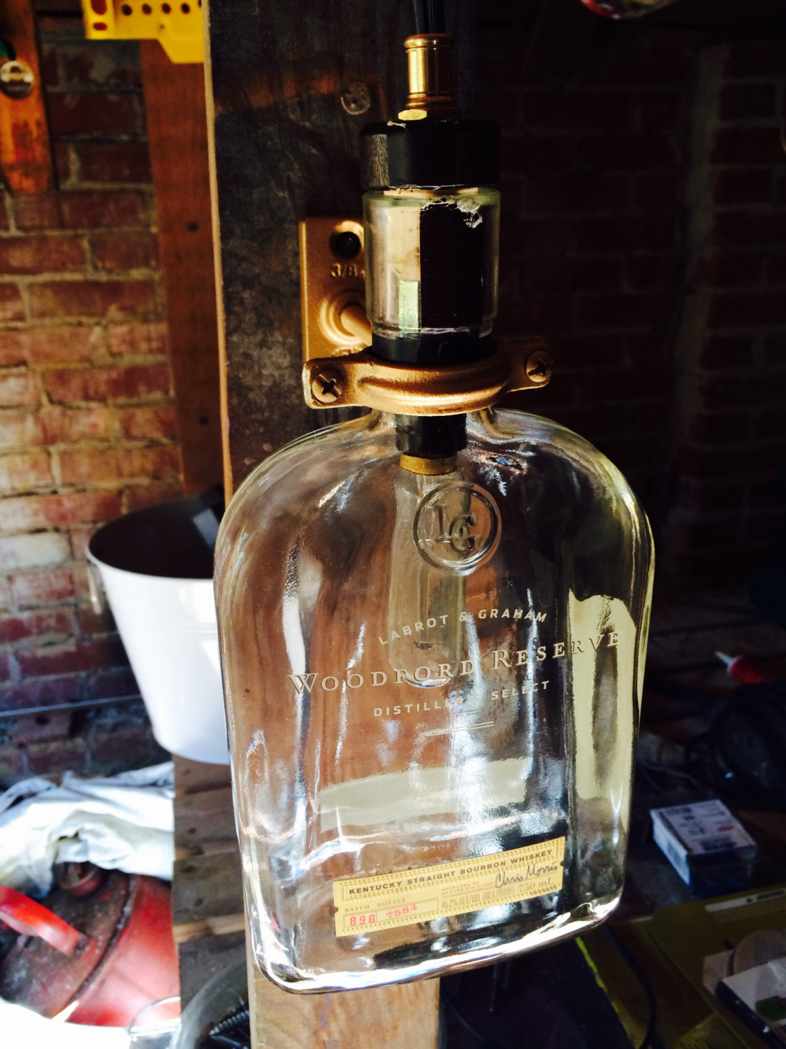 Upcycled Woodford Reserve Bourbon Whiskey Bottle Lamp On