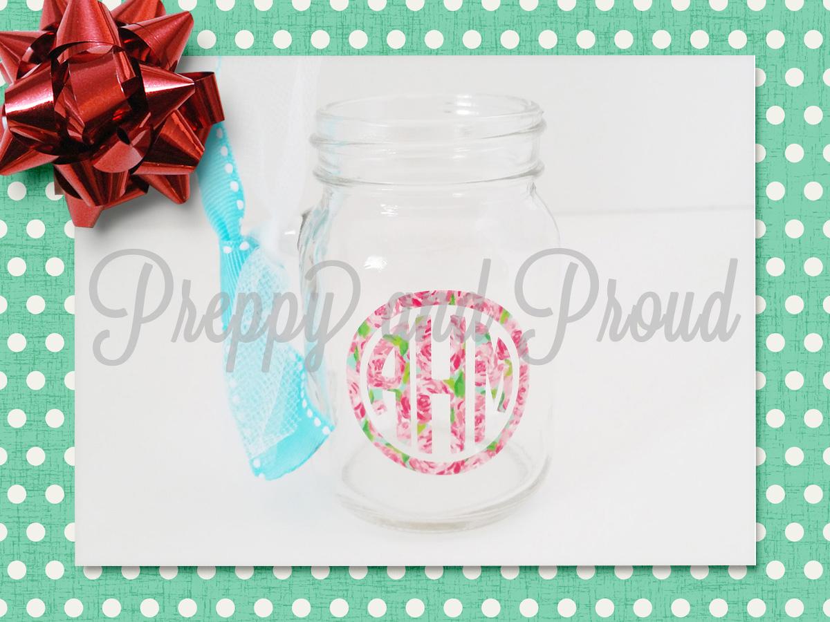 lilly pulitzer inspired monogram mason jar shot glass on storenvy