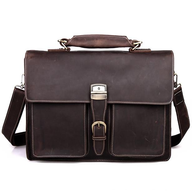 8029fd069 Men's Handmade Vintage Leather Briefcase / Leather Messenger Bag / 15