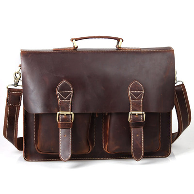 c9dae7941 Handmade superior leather briefcase / leather messenger bag - with a 13