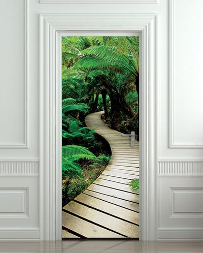 Door Sticker Palm Tree Path Mural Decole Film Self