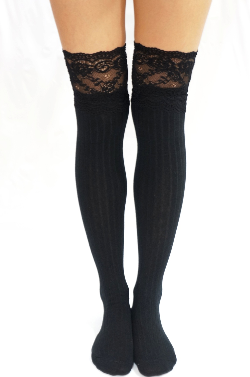 a59d4c88d Thigh Lace Knit Knee High socks Boot socks -Black - Thumbnail 1 ...