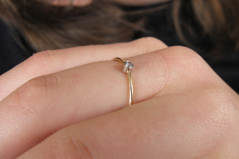 Well-liked Tiny diamond ring, platinum and gold ring, delicate gold ring  ML51