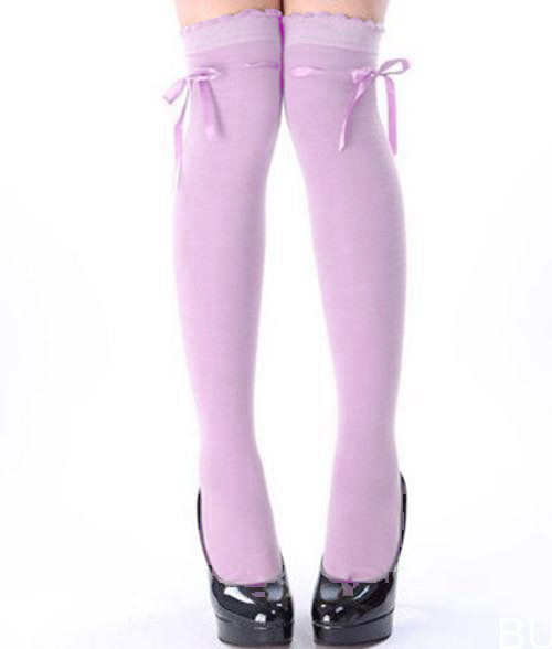 364bef9d7 pastel purple ribbon threaded bow over the knee high socks kawaii stockings  OTKs sweet lolita goth