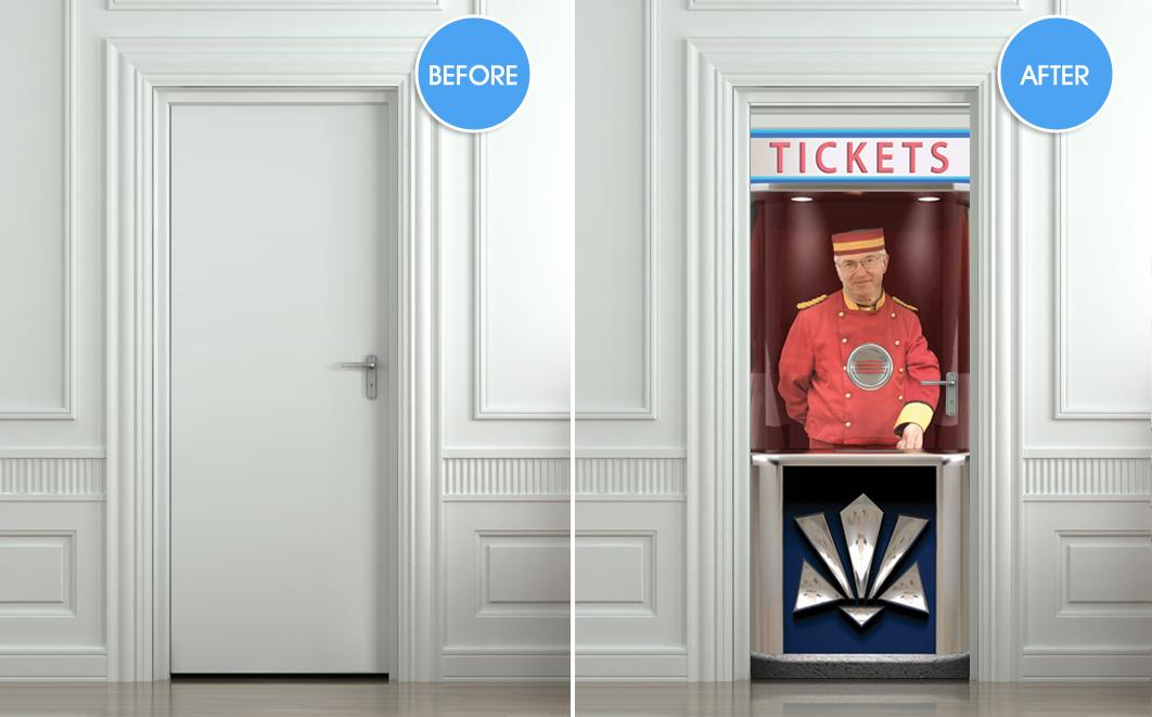 Door Sticker Cinema Ticket Booth Mural Decole Film Self