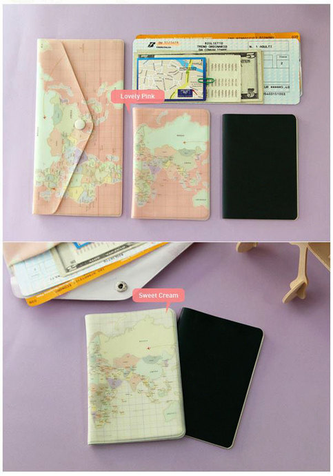 Sweet Journey Travel World Map Passport Cover Case Credit