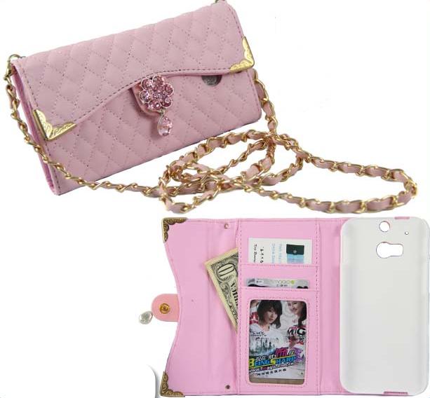 HTC One M8 - Rhinestone Flower Clasp Purse Case in Assorted Colors ... fa733f5c0eabb