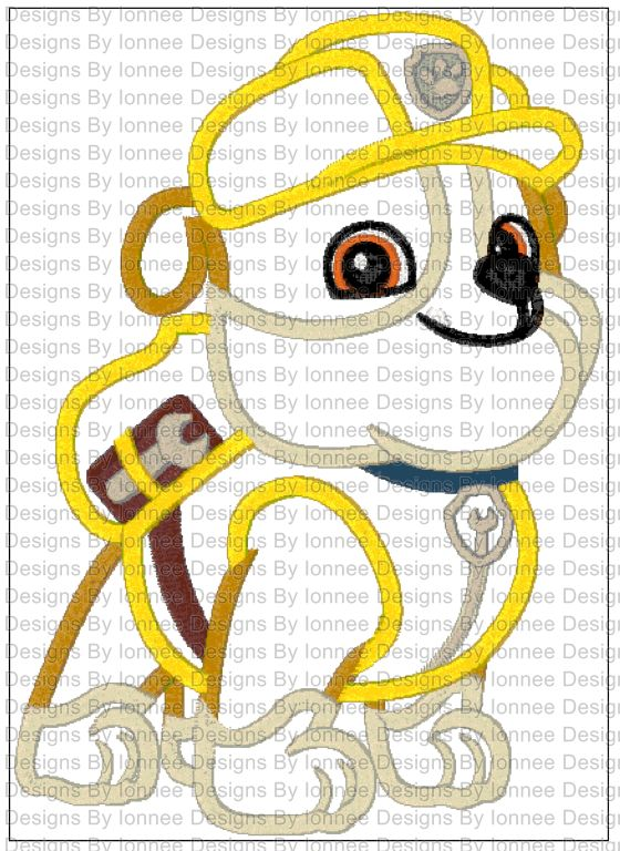 Paw Patrol (Rub) Applique Machine Embroidery Designs in 2 Sizes from Ionnee  Designs