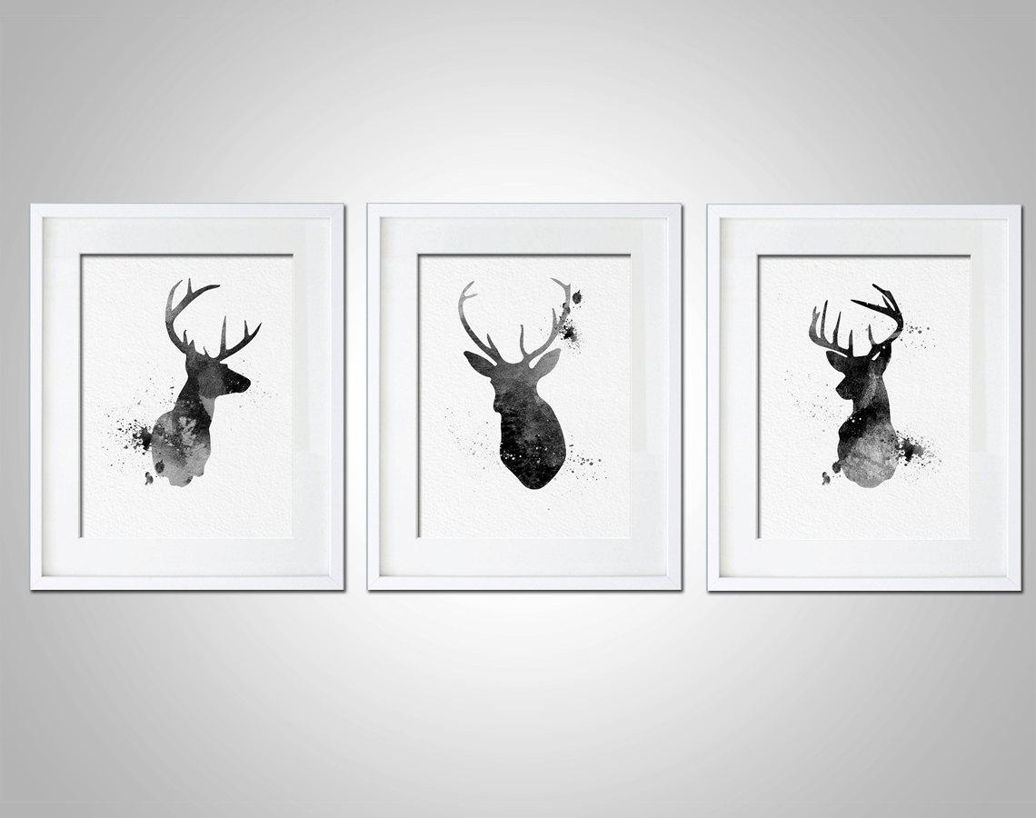 Watercolor art print neon deer head box set of 3 modern 8x10 wall art deer head