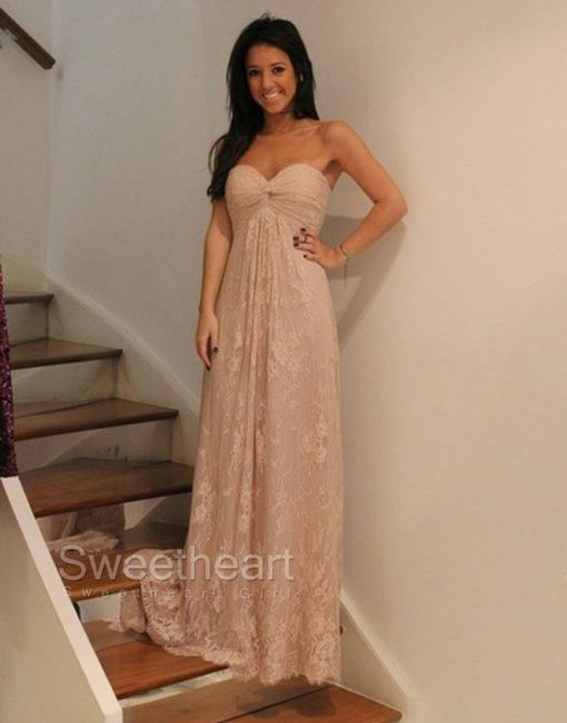 Sweetheart Girl   Sweetheart A-line Dark Champagne Lace Bridesmaid ...