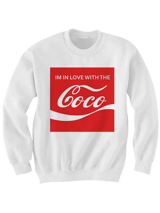 i 39 m in love with the coco sweatshirt coca cola shirt funny. Black Bedroom Furniture Sets. Home Design Ideas