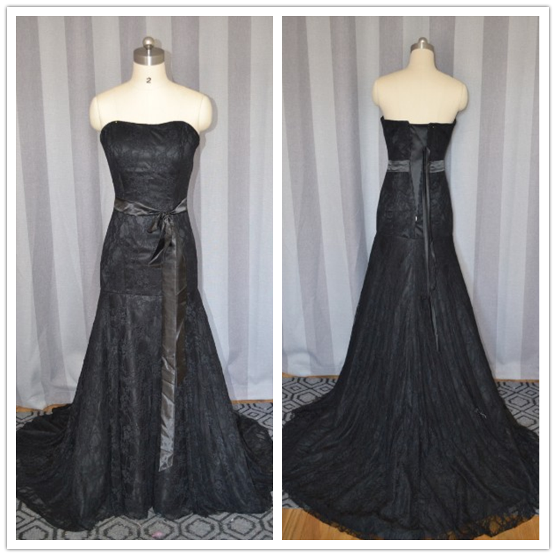 c9462509329 Simple black lace dropshipping strapless mermaid prom dress