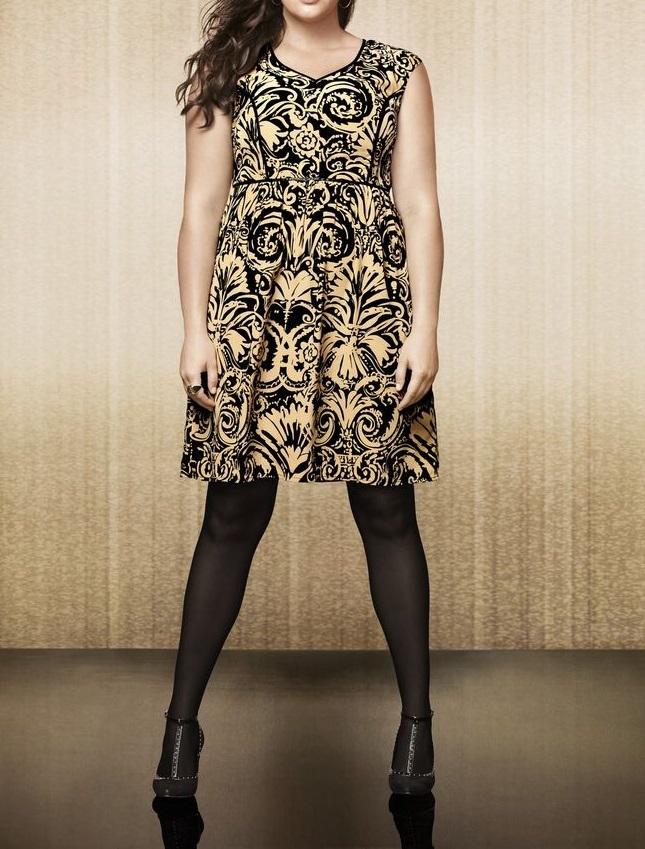 14w Lane Bryant Gold Black Brocade Print Dress W Faux Leather
