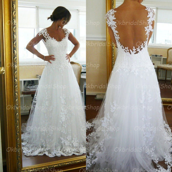 backless wedding dress, lace wedding dress, cheap wedding dress ...