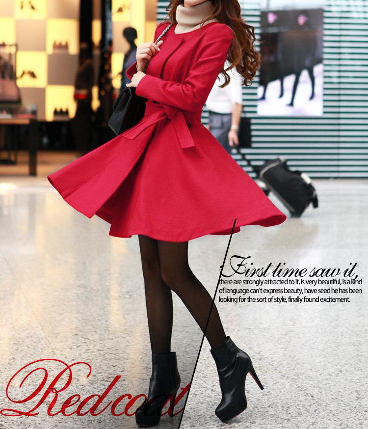 Red / Black wool women coat women dress coat Apring Autumn CO003