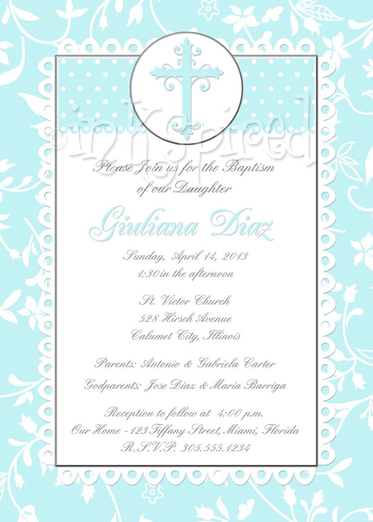 Tiffany Blue Shabby Chic Damask Baptism Christening Invitation ...