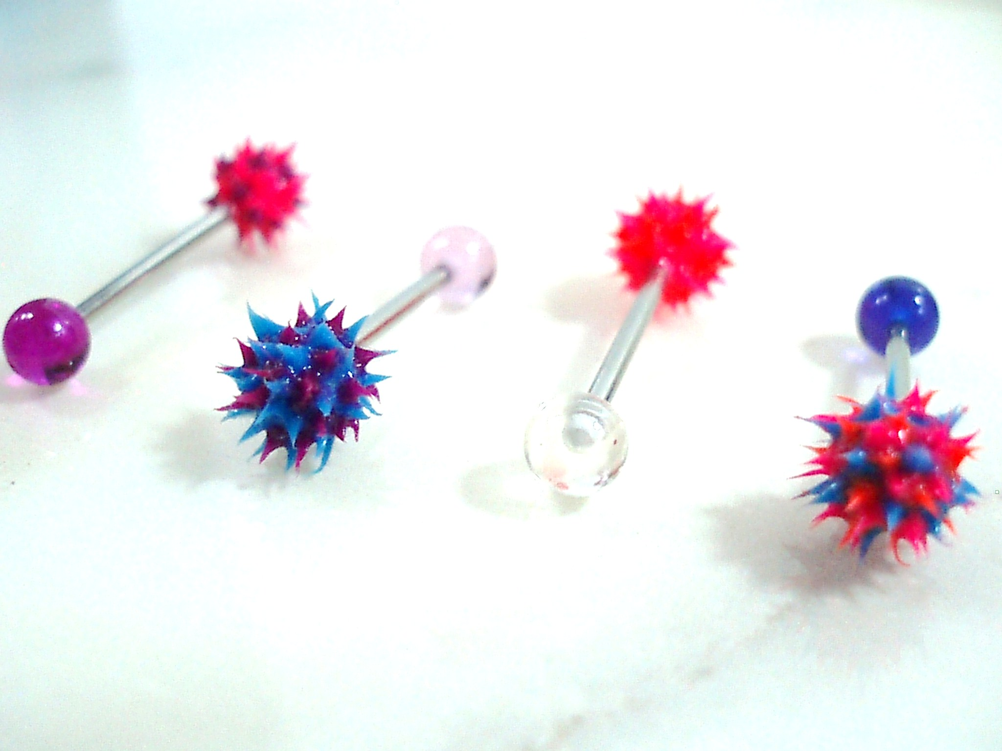 Soft Silicone Spiky Ball Tongue Ring - Blacklight Reactive -4458