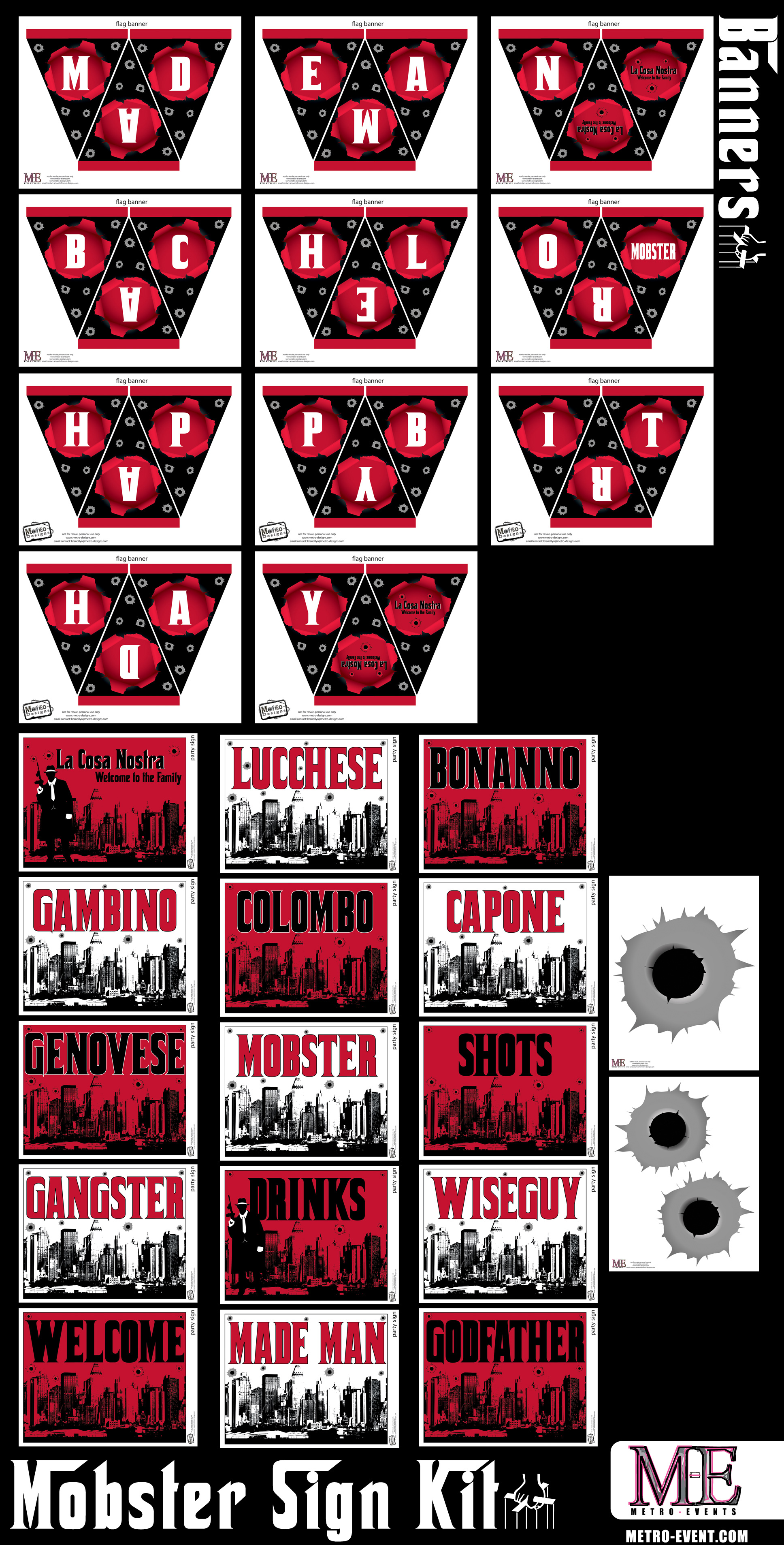 PRECUT Mob Gangster Edible Cupcake Toppers Decorations Birthday Party 1920 1930