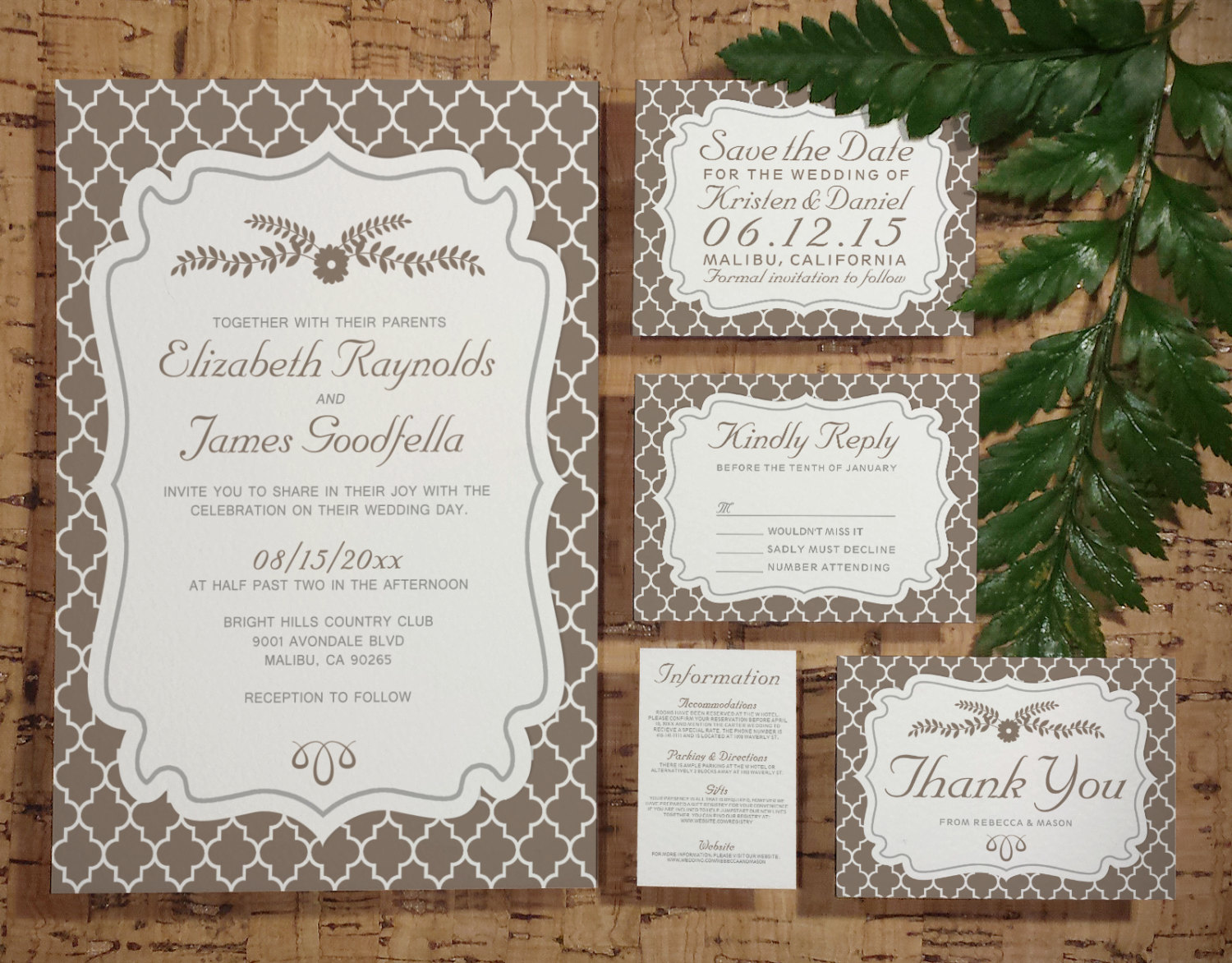 Printable Brown Quatrefoil Wedding Invitations Set/Suite, Invites ...
