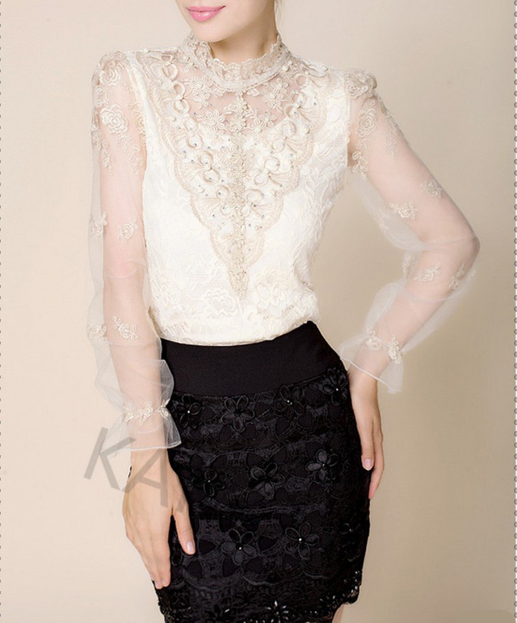 bf804f2c22682 XS S M off-white sheer bow lace long sleeve top high collar mesh panel  embroidered