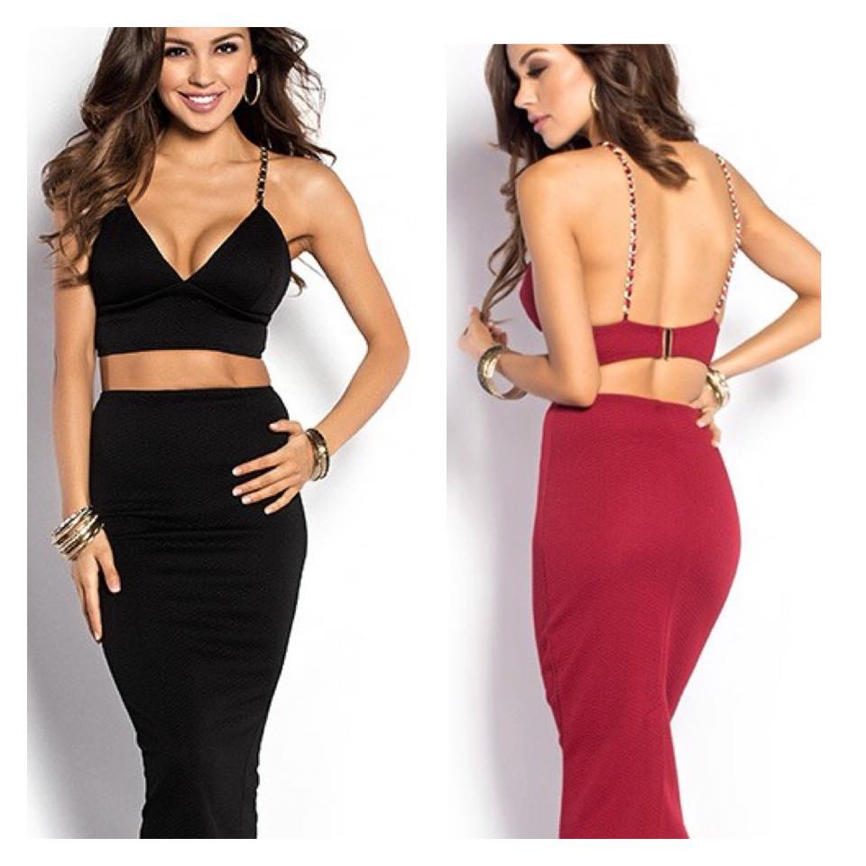 6756f2f8134 Deep Red and Gold Chain Strappy Two Piece Dress Set ...