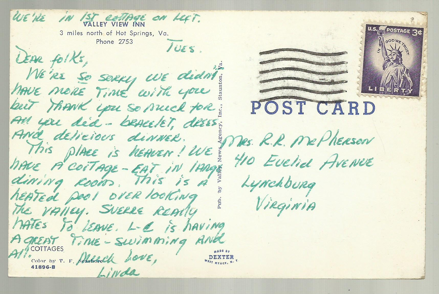 Cottages at Valley View Inn, Hot Springs, Virginia, Vintage Postcard -  Thumbnail 1