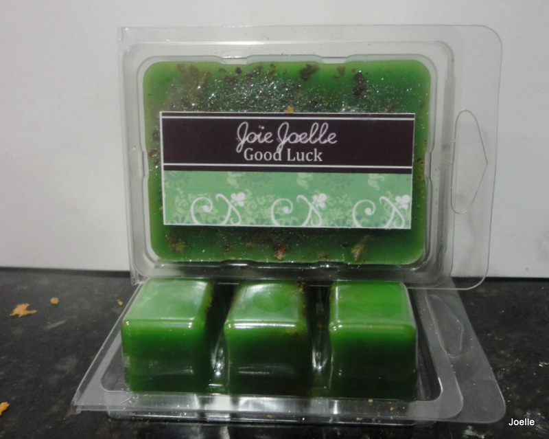 Good Luck Green Spell Wax Melts Tarts for attracting money, gambling lotto,  good fortune, abundance, wealth, finanical gain from Joie Joelle Creations