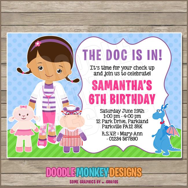 photograph regarding Doc Mcstuffins Printable Invitations known as Document Female - Document Mcstuffins Celebration Invitation - Do it yourself PRINTABLE Electronic Invite against DoodleMonkeyDesigns