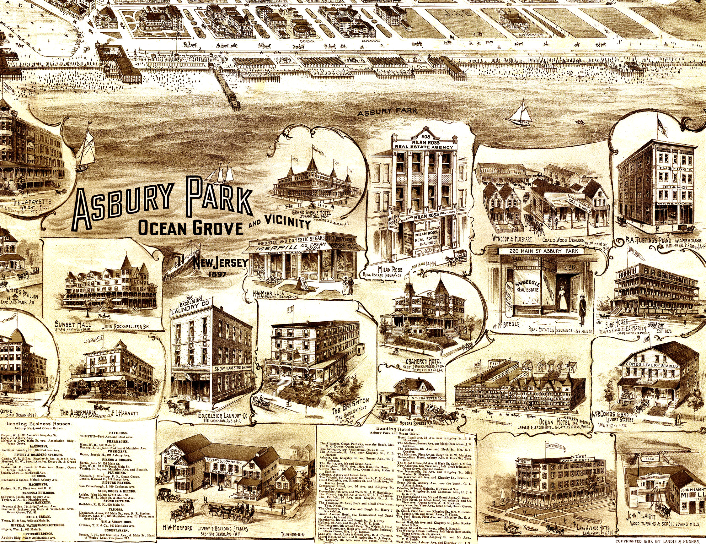 Asbury Park, Ocean Grove, New Jersey and Vicinity in 1897 - Bird's Eye  View, Map, Aerial, Panorama, Vintage, Antique, Fine Art, Wall art from The  Old