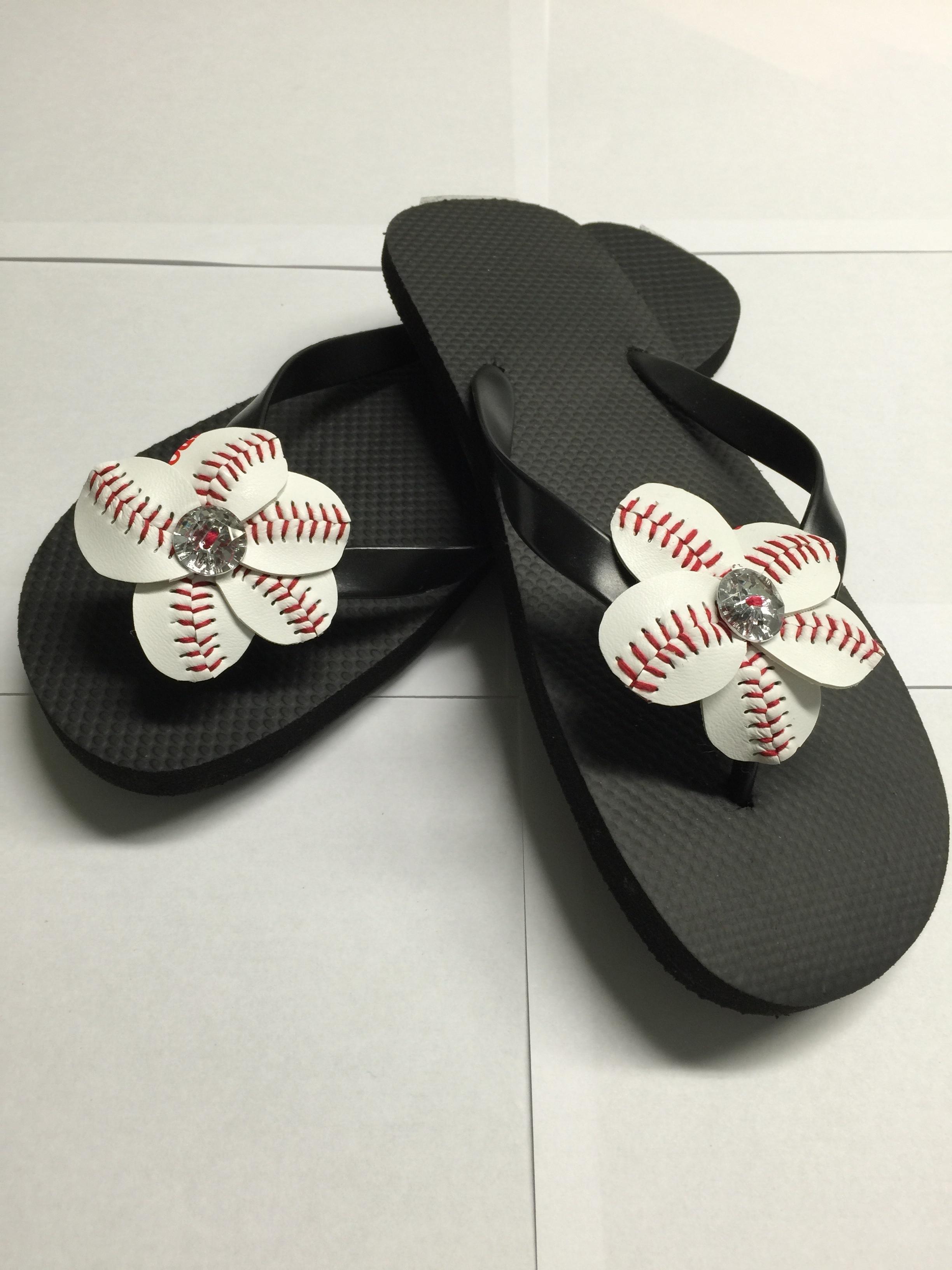 65e04311a Baseball or Softball Flower Flip Flops - includes flip flops · Paper ...