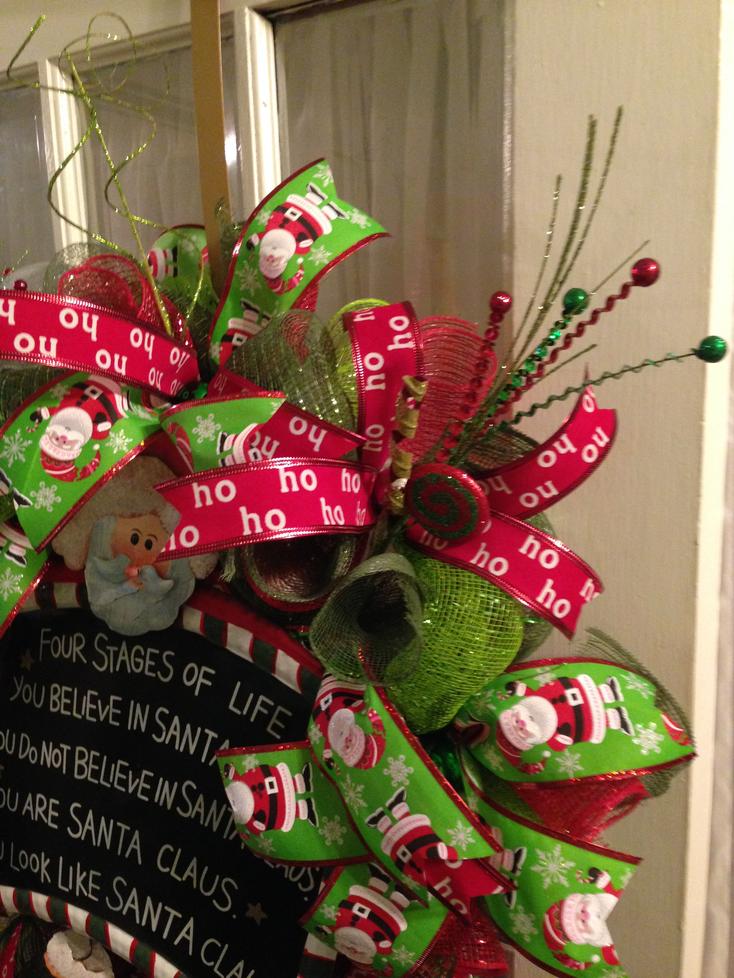 Christmas Ribbon Wreaths.Santa Claus Wreath Deco Mesh Ribbon Christmas Lime Green Red Mesh From Wreaths By Rosie