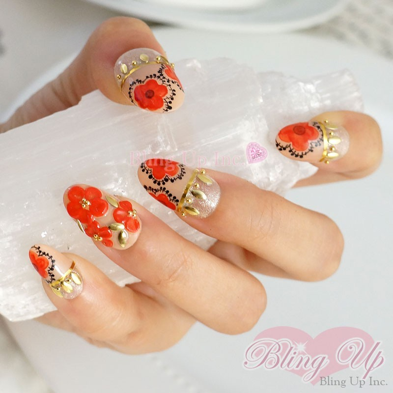 Bling Up Inc Asian Japanese Oriental Floral Nail Art With Gold