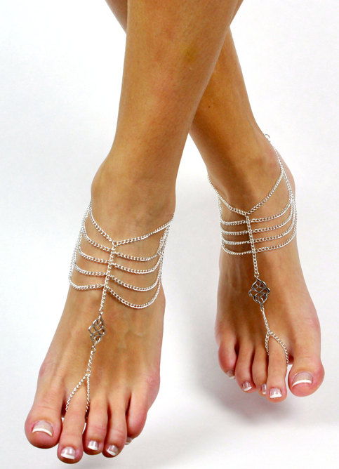 Bohemian Chained Barefoot Sandals Foot Jewelry Boho Chic Anklet Foot Thong Slave Sandal Barefoot