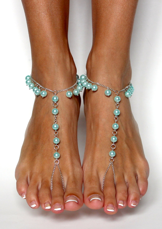 b0941430f Something Blue Bridal Barefoot Sandals Beach Wedding Sandals Anklet ...