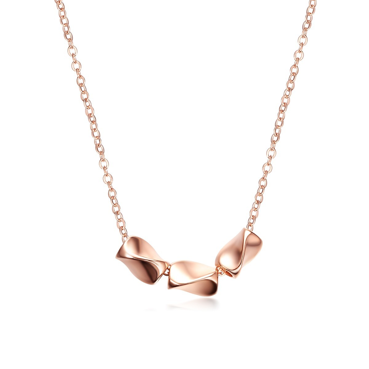 Sterling Silver Rose Gold Plated 3 Twisty Rectangulars ...