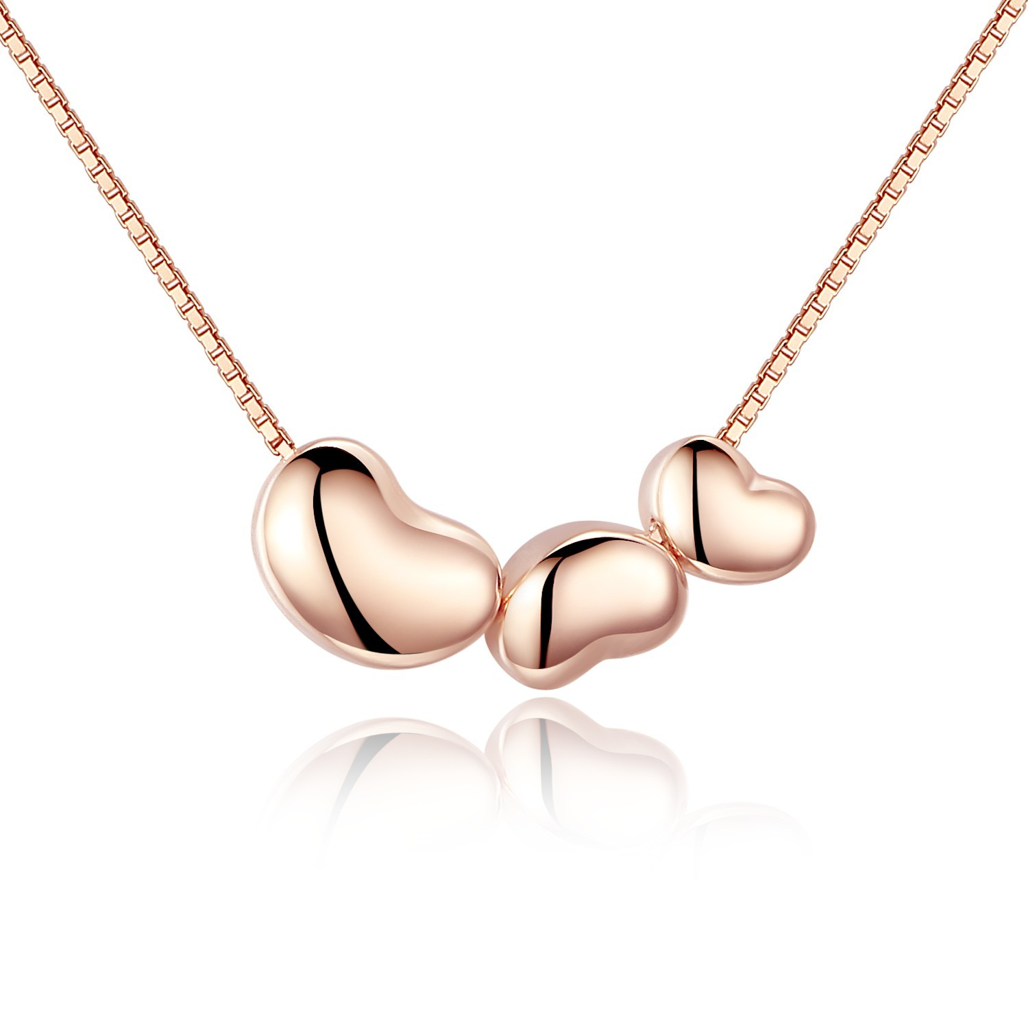 Sterling Silver Rose Gold Plated Trio Love Heart Shape Pendant