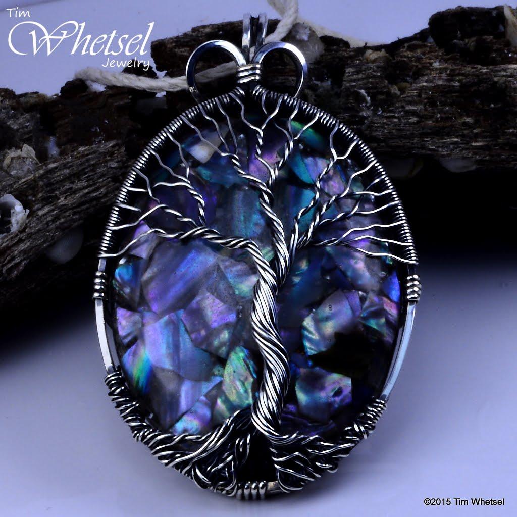 Mother Of Pearl Orgonite Sterling Silver Tree Of Life Pendant