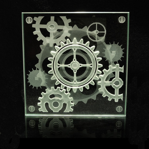 Steampunk Alternate Gear Design Etched Art Glass Coaster