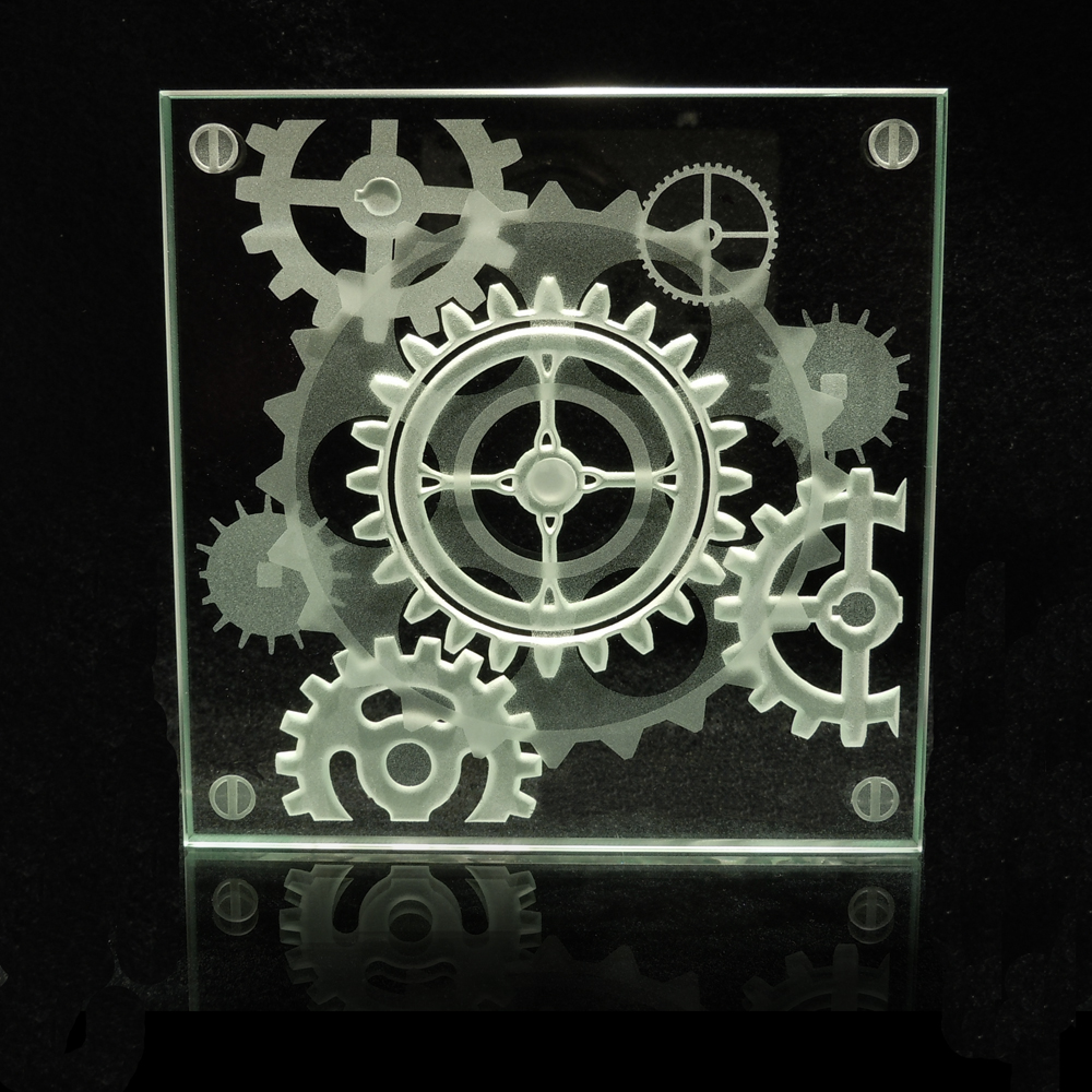 steampunk alternate gear design etched art glass coaster