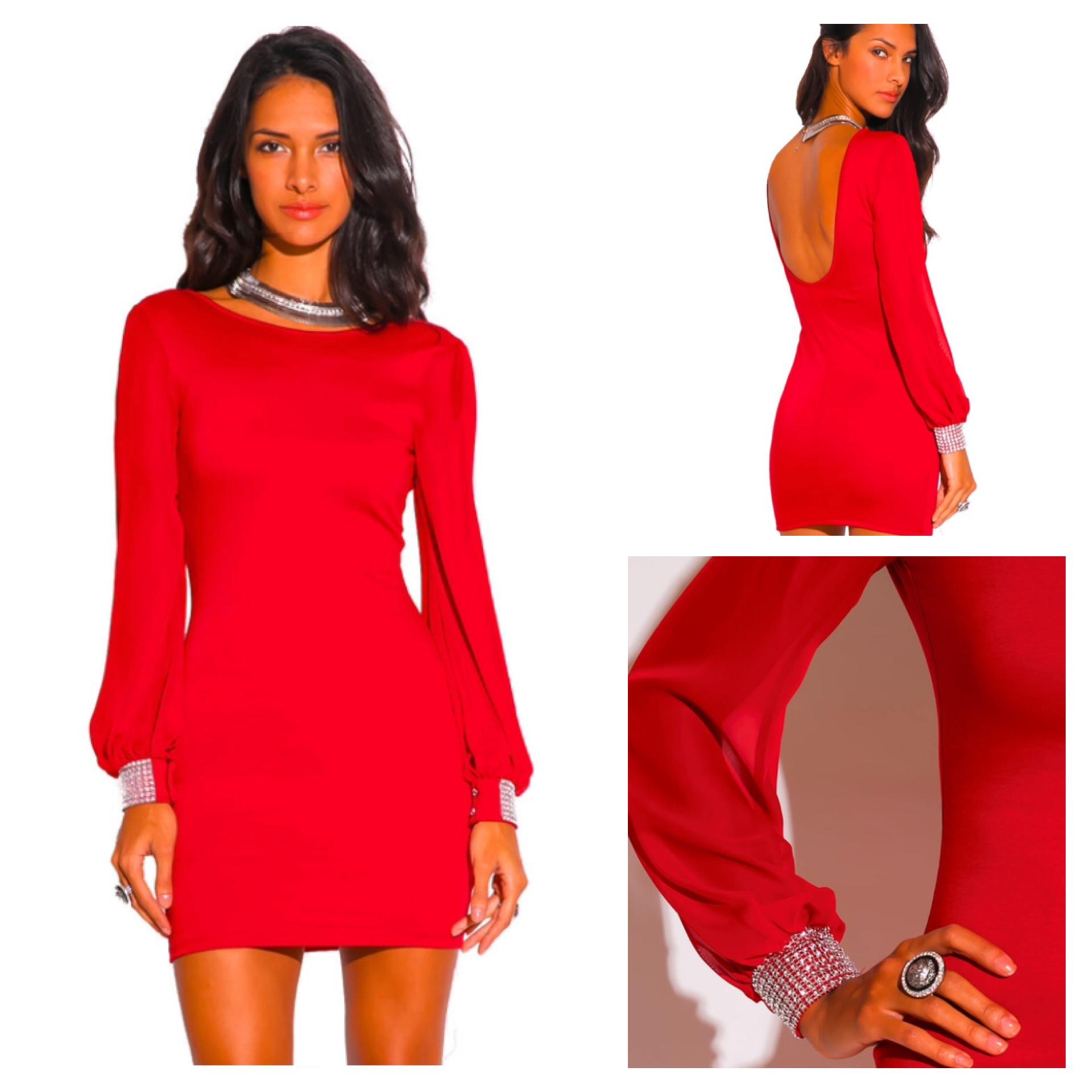 Lipstick Red Chiffon Cocktail Dress