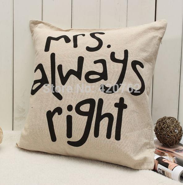 Mr Right Mrs Always Right Pillow Case Set 183 Kalliope S
