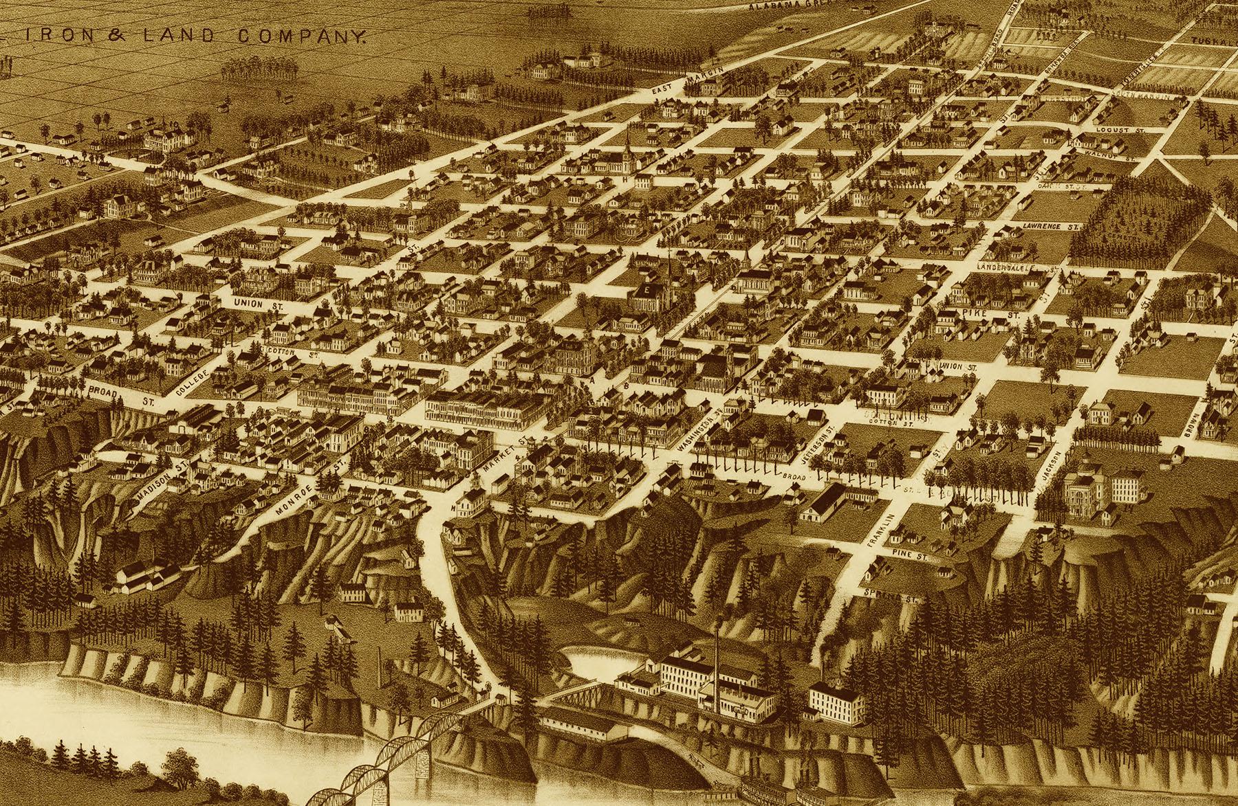 Tuscaloosa Alabama in 1887 Birds Eye View Map Aerial Panorama